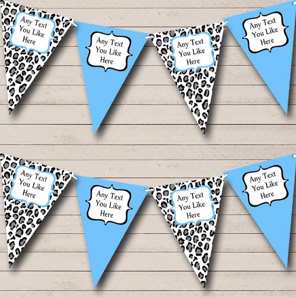 Black White & Sky Blue Animal Print Personalised Hen Do Night Party Bunting