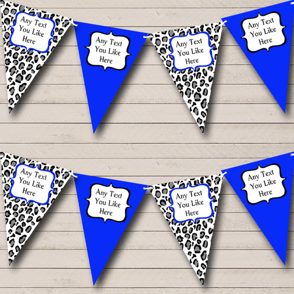 Black White & Royal Blue Animal Print Personalised Hen Do Night Party Bunting