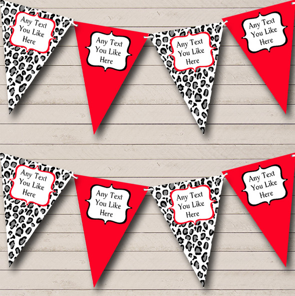 Black White & Red Animal Print Personalised Hen Do Night Party Bunting