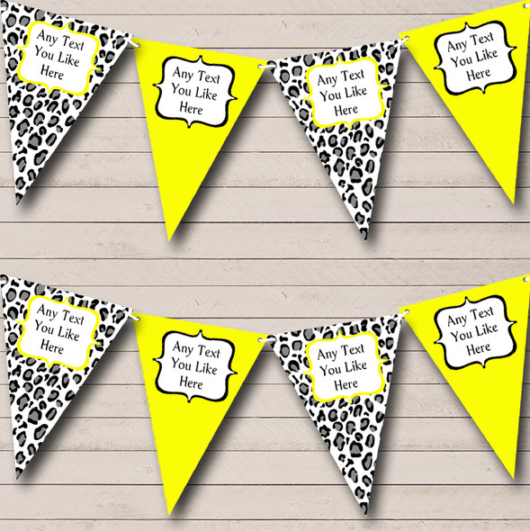 Black White & Lime Yellow Animal Print Personalised Hen Do Night Party Bunting