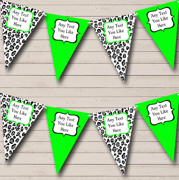 Black White & Lime Green Animal Print Personalised Hen Do Night Party Bunting