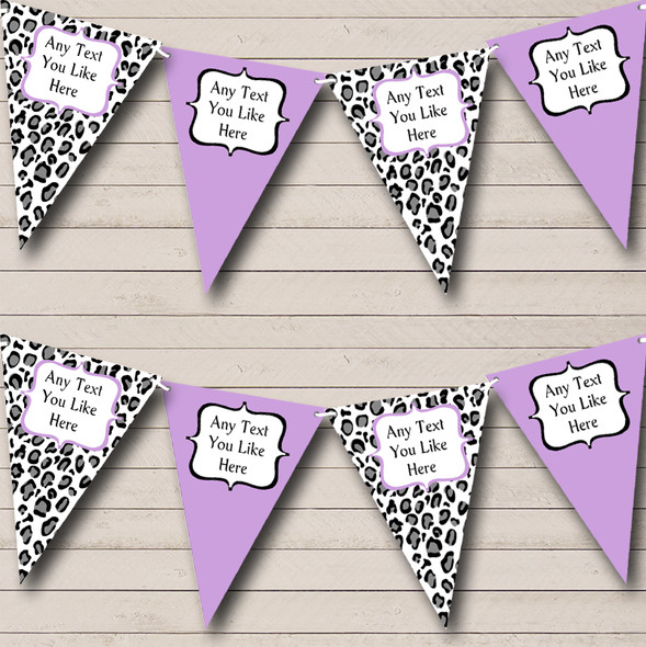 Black White & Lilac Animal Print Personalised Hen Do Night Party Bunting