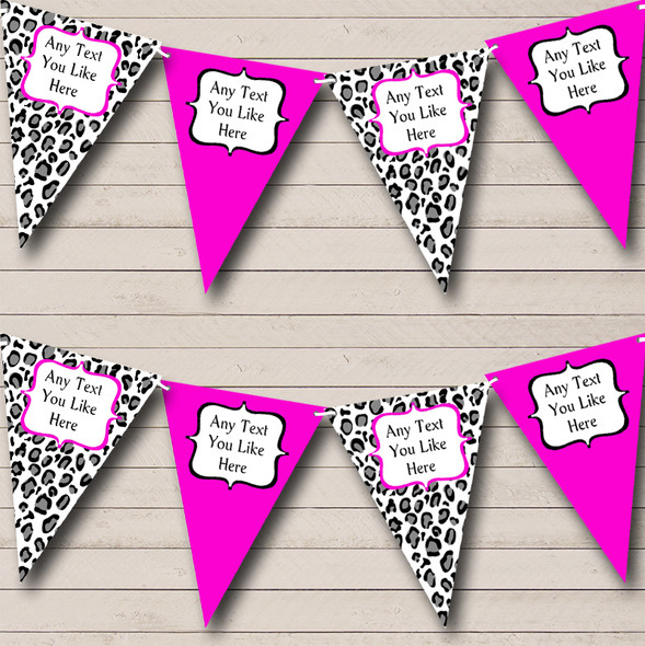 Black White & Hot Pink Animal Print Personalised Hen Do Night Party Bunting