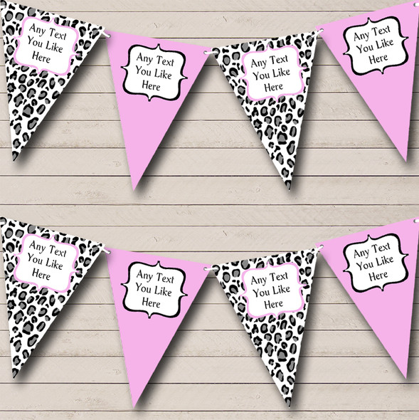 Black White & Baby Pink Animal Print Personalised Hen Do Night Party Bunting