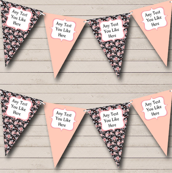Black Vintage Floral Shabby Chic Personalised Hen Do Night Party Bunting