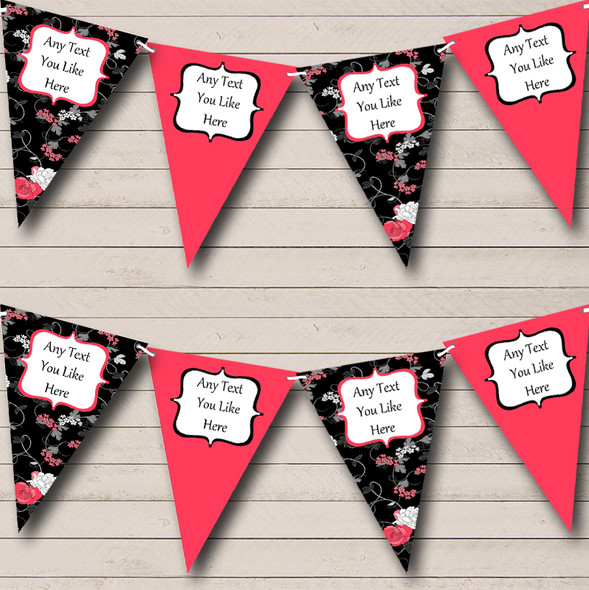Black Coral Floral Shabby Chic Personalised Hen Do Night Party Bunting
