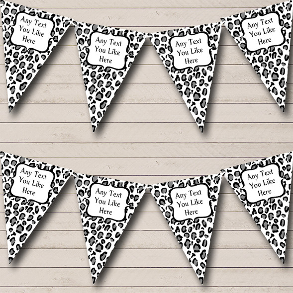 Black & White Leopard Print Personalised Hen Do Night Party Bunting