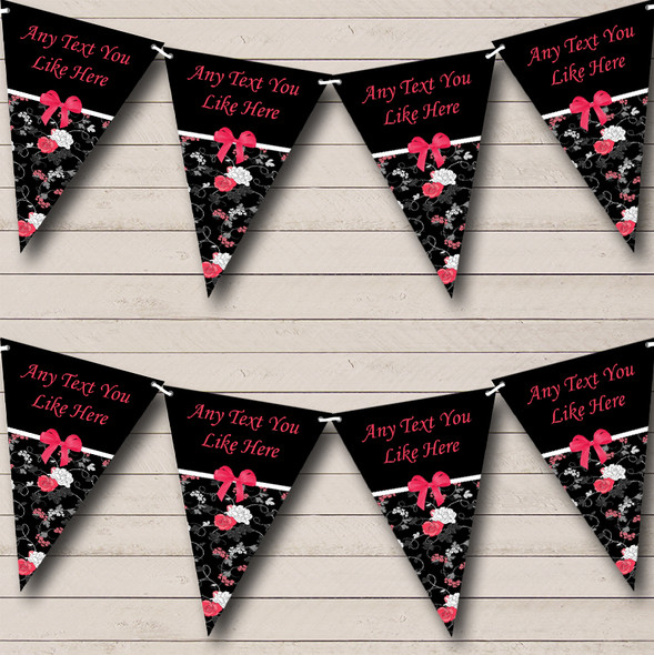 Black & Pink Shabby Chic Vintage Personalised Hen Do Night Party Bunting