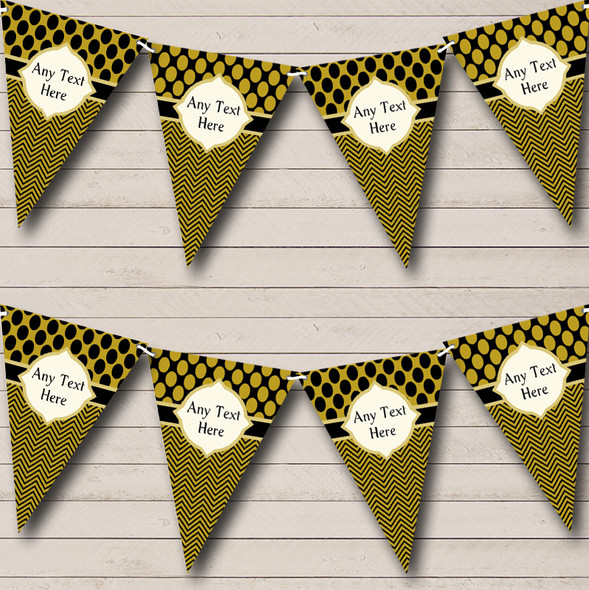Black & Dark Gold Spots Elegant Personalised Hen Do Night Party Bunting