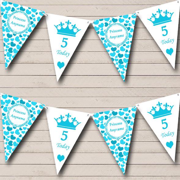 Aqua Blue Love Hearts Princess Girls Personalised Hen Do Night Party Bunting