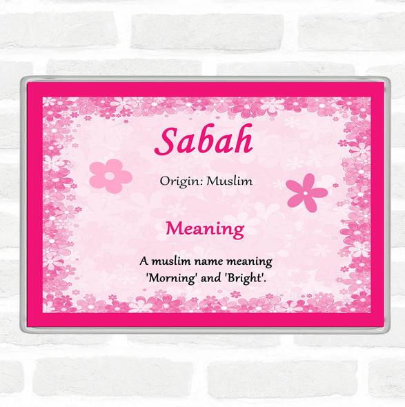 Sabah Name Meaning Jumbo Fridge Magnet Pink