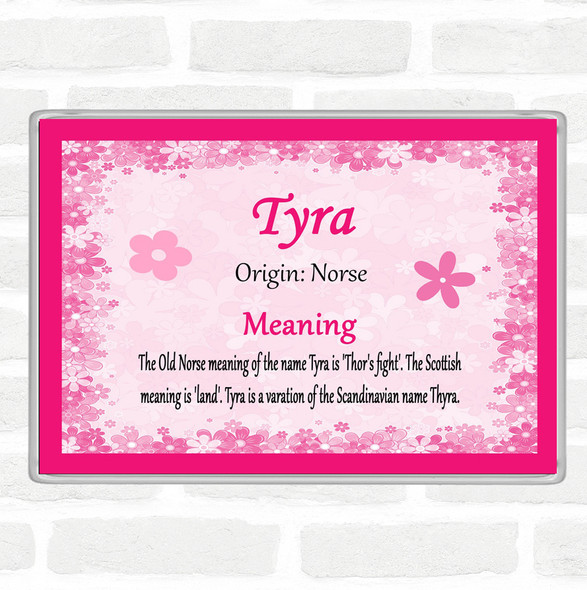Tyra Name Meaning Jumbo Fridge Magnet Pink
