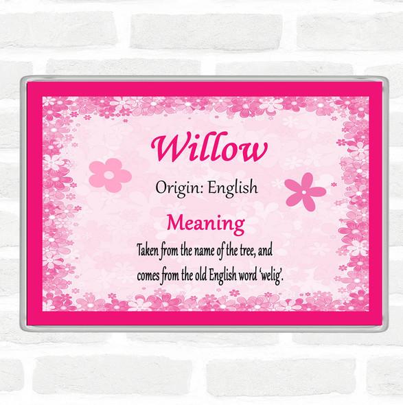 Willow Name Meaning Jumbo Fridge Magnet Pink