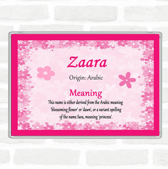 Zaara Name Meaning Jumbo Fridge Magnet Pink