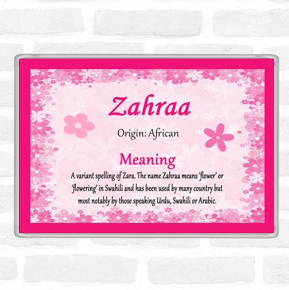 Zahraa Name Meaning Jumbo Fridge Magnet Pink