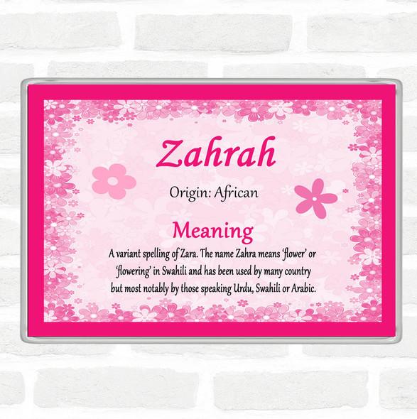 Zahrah Name Meaning Jumbo Fridge Magnet Pink