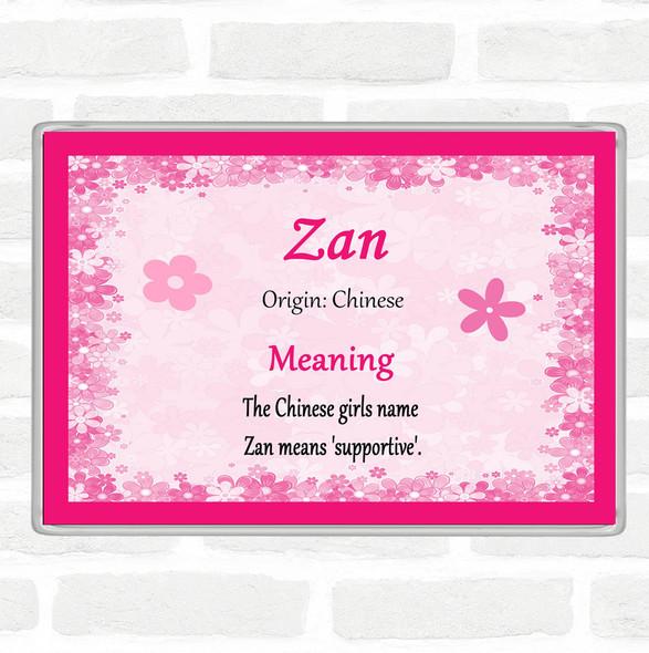 Zan Name Meaning Jumbo Fridge Magnet Pink