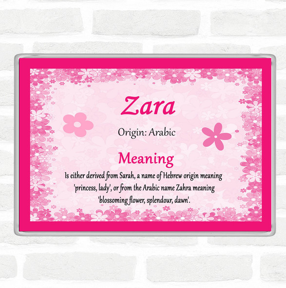 Zara Name Meaning Jumbo Fridge Magnet Pink