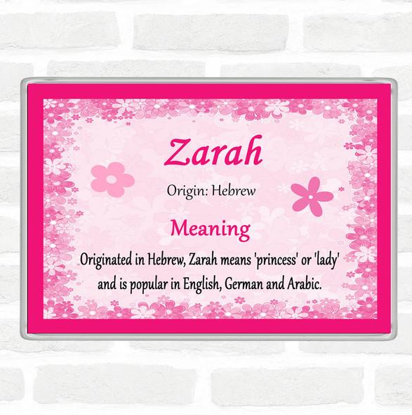 Zarah Name Meaning Jumbo Fridge Magnet Pink