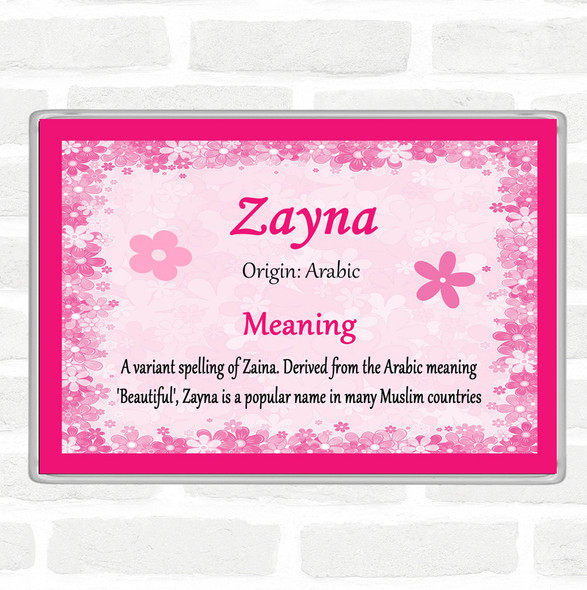 Zayna Name Meaning Jumbo Fridge Magnet Pink