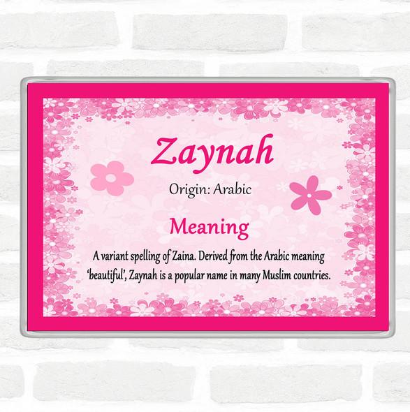 Zaynah Name Meaning Jumbo Fridge Magnet Pink
