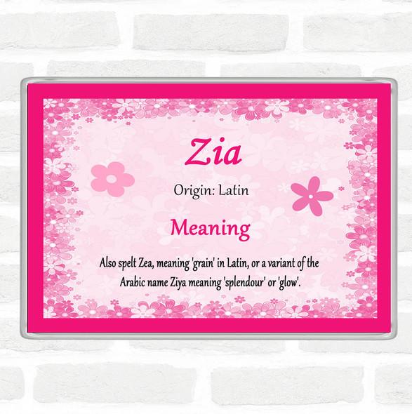 Zia Name Meaning Jumbo Fridge Magnet Pink