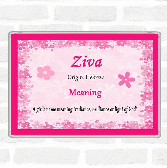 Ziva Name Meaning Jumbo Fridge Magnet Pink