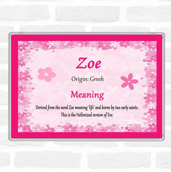 Zoe Name Meaning Jumbo Fridge Magnet Pink