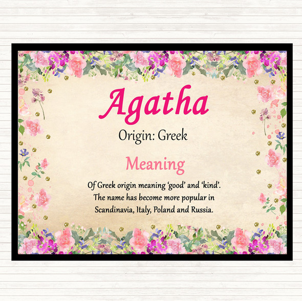 Agatha Name Meaning Mouse Mat Pad Floral