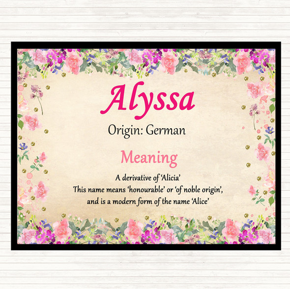 Alyssa Name Meaning Mouse Mat Pad Floral