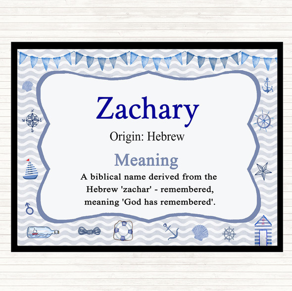 Zachary Name Meaning Mouse Mat Pad Nautical