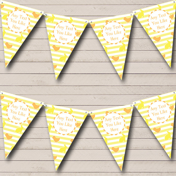 Yellow Orange Easter Chick Bunny Personalised Easter Party Bunting