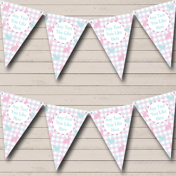Pink Blue Easter Chick Bunny Personalised Easter Party Bunting