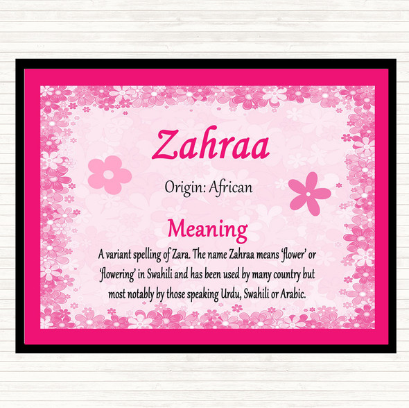 Zahraa Name Meaning Mouse Mat Pad Pink