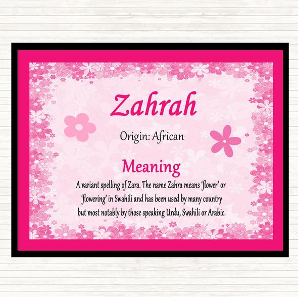 Zahrah Name Meaning Mouse Mat Pad Pink