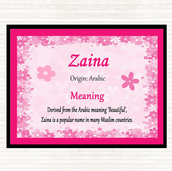 Zaina Name Meaning Mouse Mat Pad Pink