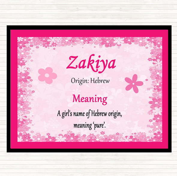 Zakiya Name Meaning Mouse Mat Pad Pink