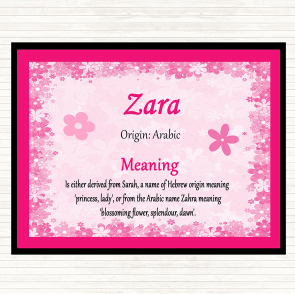 Zara Name Meaning Mouse Mat Pad Pink
