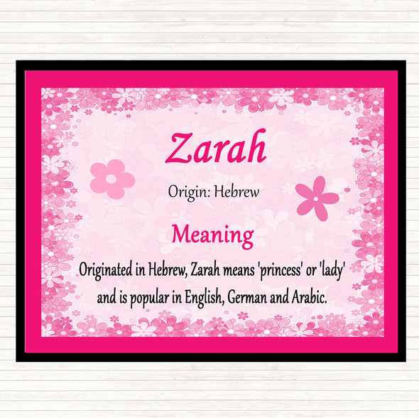 Zarah Name Meaning Mouse Mat Pad Pink