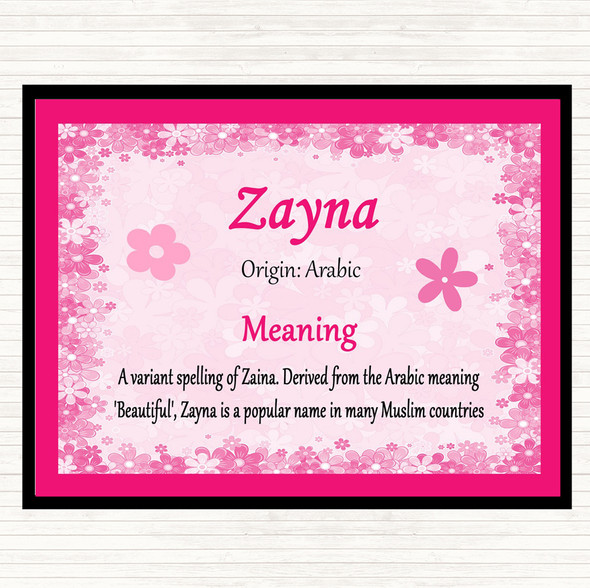 Zayna Name Meaning Mouse Mat Pad Pink
