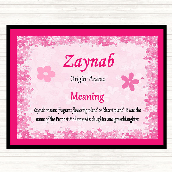 Zaynab Name Meaning Mouse Mat Pad Pink