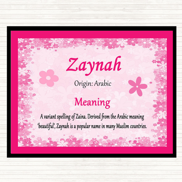 Zaynah Name Meaning Mouse Mat Pad Pink