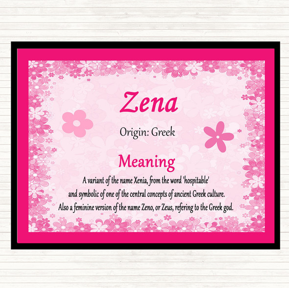 Zena Name Meaning Mouse Mat Pad Pink