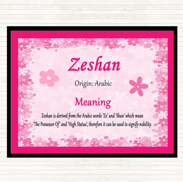 Zeshan Name Meaning Mouse Mat Pad Pink