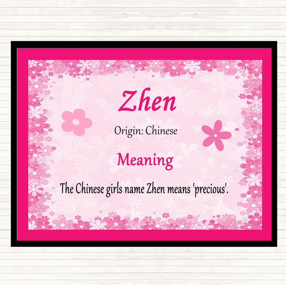 Zhen Name Meaning Mouse Mat Pad Pink