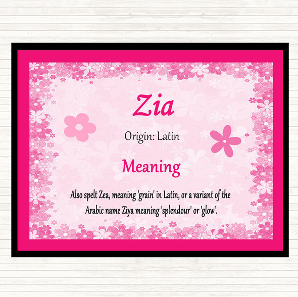 Zia Name Meaning Mouse Mat Pad Pink