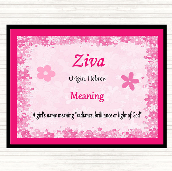 Ziva Name Meaning Mouse Mat Pad Pink
