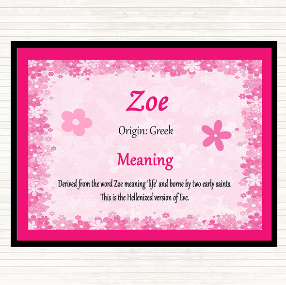 Zoe Name Meaning Mouse Mat Pad Pink