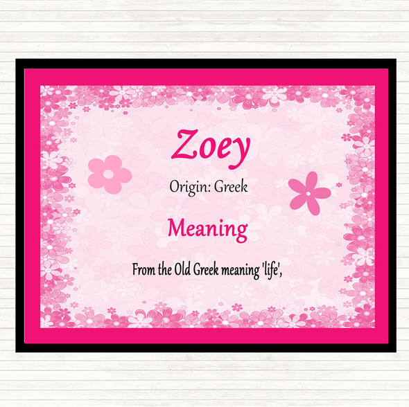 Zoey Name Meaning Mouse Mat Pad Pink