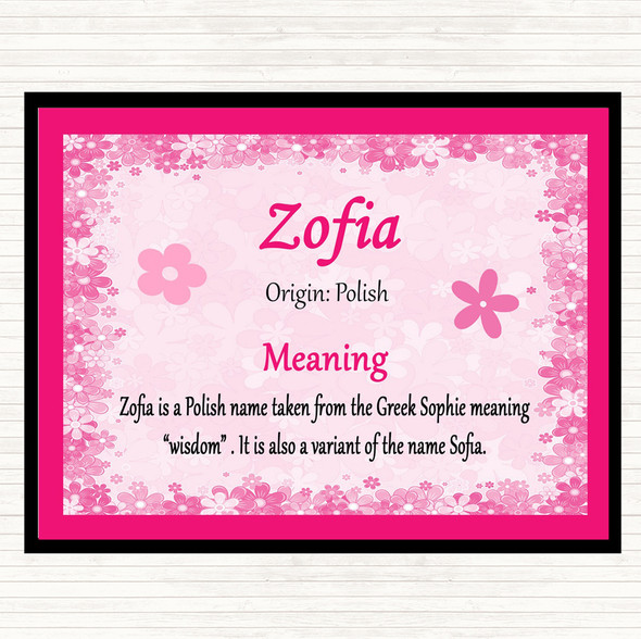 Zofia Name Meaning Mouse Mat Pad Pink